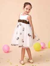 Tulle A line ivory little Girls Dresses with brown sash wedding party kids girls formal dresses