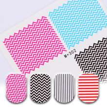 1 Sheet Nail Water Decal Colorful Wave Line Pattern Decals Manicure Nail Transfer Sticker M+302/303