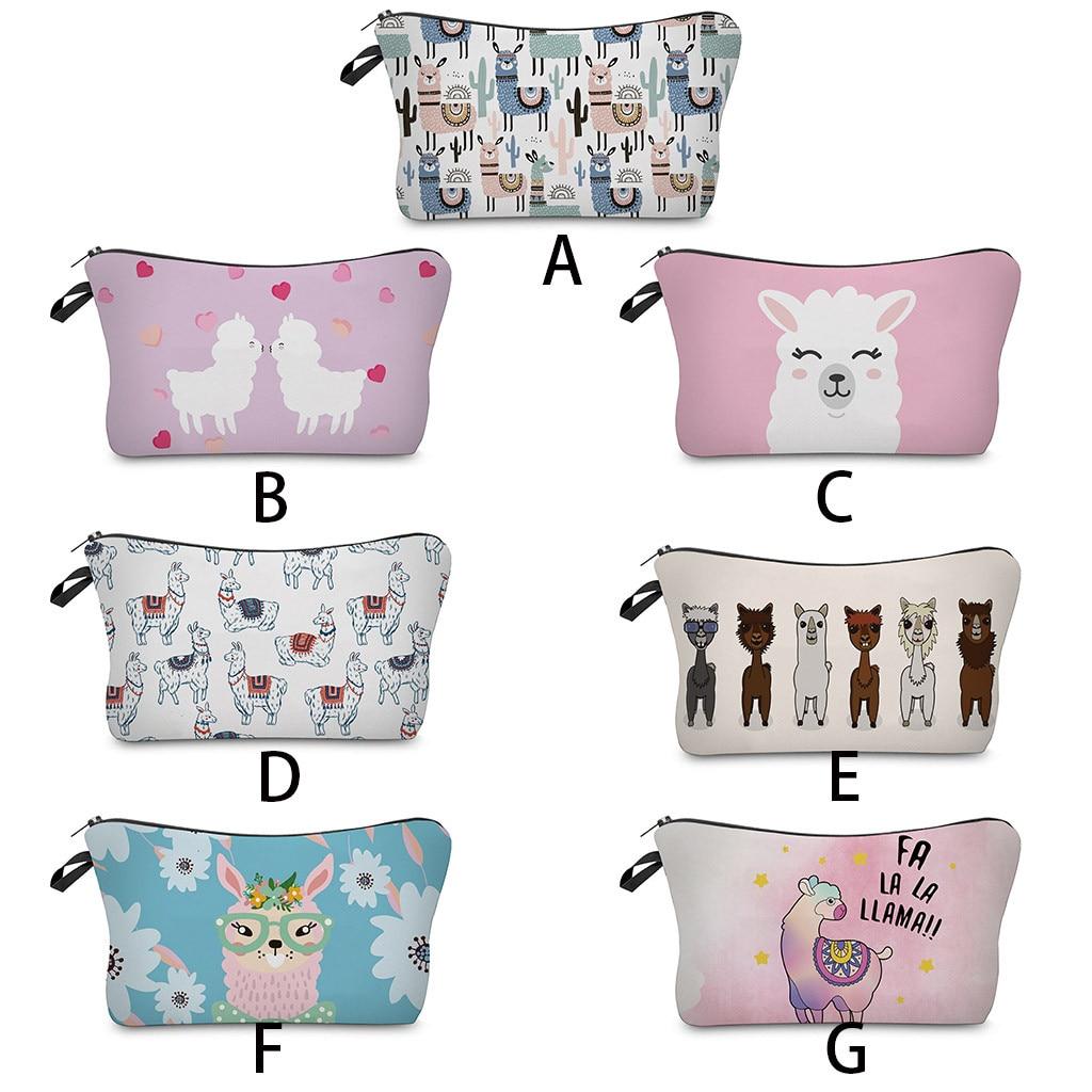 New Waterproof Cactus Llama Prints Cosmetic Bag Roomy Light Pink Cute Alpaca Makeup Bags Travel Gift Bags C528