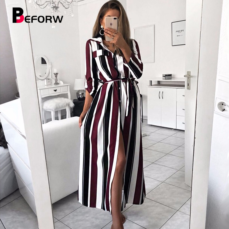 BEFORW Fashion Turn-Down Collar Long Dress Women Casual Stripe Sexy Shirt Dresses Elegant Lace Up Party Maxi Dress Vestidos