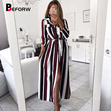 BEFORW Fashion Turn-Down Collar Long Dress Women Casual Stripe Sexy Shirt Dresses Elegant Lace Up Party Maxi Vestidos