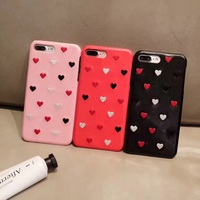 3D Stereo Heart Shapes Embroidery Retro Candy Color Case Cover For IPhone 6 6S 7 Plus