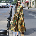 Luxury Vintage Impreso Flores Vestido Maxi Delgado Mujeres de Talla grande Ropa de Otoño Manga Larga Musulmán Vestidos de Fiesta Bata Calidad