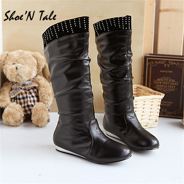 Shoe'N Tale Sexy Women Long Winter Rubber Leather Boots Round Toe ...