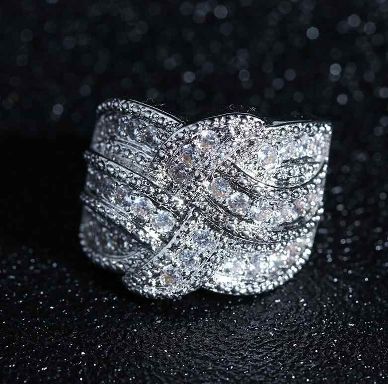 Размер 6-10, Новое поступление, роскошные Потрясающие ювелирные изделия, 925 пробы, заполненные серебром, проложенные белым цирконием, CZ вечерние женские обручальные кольца