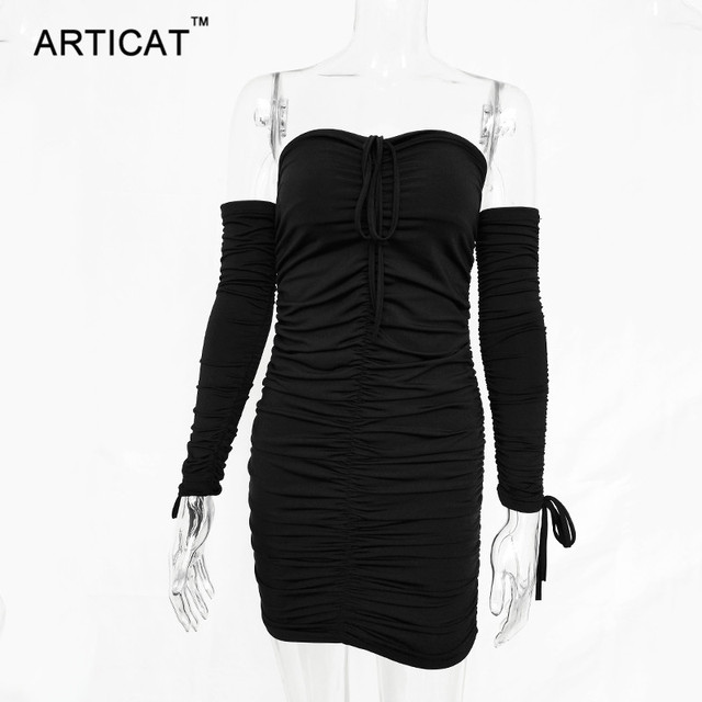 Articat Women Autumn Winter Bandage Dress Women 2019 Sexy Off Shoulder Long Sleeve Slim Elastic Bodycon Party Dresses Vestidos