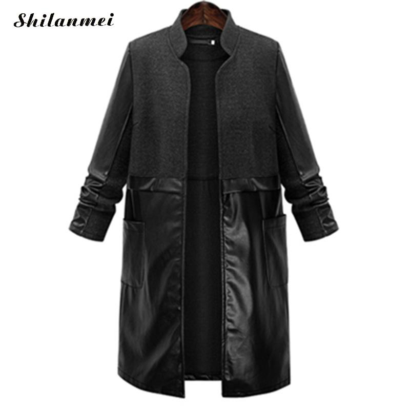 5XL Women's Coat Plus Size Long   Trench   Coat for Women Spring Autumn Fashion Coat 2017 Pu Leather Patchwork Black Casaco Feminino