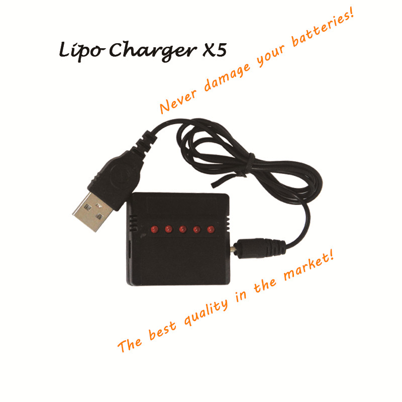 X5 5 in 1 3.7v Lipo Battery Charger USB for JJRC H36 Hubsan H107D H107L X4 Wltoys Syma X5C/UDI RC Quadcopter W/ RC LED Indicated 1pcs 3 7v lipo battery adapter charger usb interface 4 in 1 5 in 1 6 in 1 for syma x5 x5c x5c 1 h107 h107c jjrc h8 wholesale