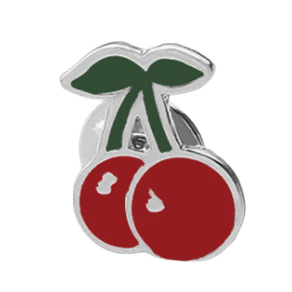 Fashion Merah Cherry Perhiasan Aksesoris Bros Korsase Topi Syal Klip Ornamen Pin untuk Wanita Anak Perempuan dan Anak-anak Grosir