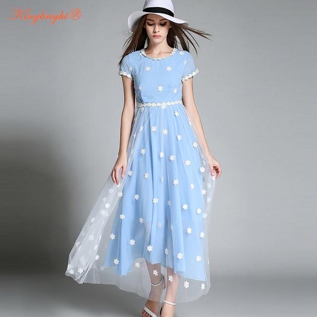 eea637a25 الملك مشرق النمط الأوروبي الوردي الضوء الأزرق فساتين س الرقبة التطريز الشيفون  شاطئ الصيف فستان مثير