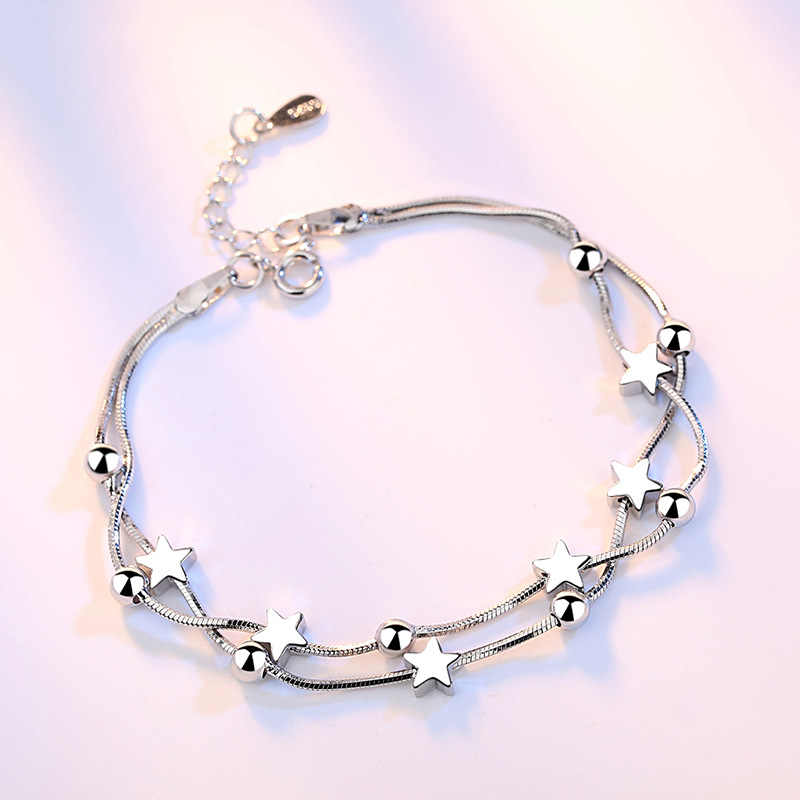 Crazy Feng Elegant Chain Bracelet Silver Color Beads Stars Charm Bracelet For Women Snake Link Chain Bracelet Jewelry Gift