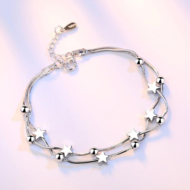 Crazy Feng Elegant Chain Bracelet Silver Color Beads Stars Charm Bracelet For Women Snake Link Chain Bracelet Jewelry Gift