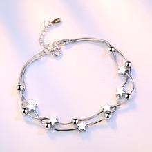 Crazy Feng Elegant Chain Bracelet Silver Color Beads Stars C