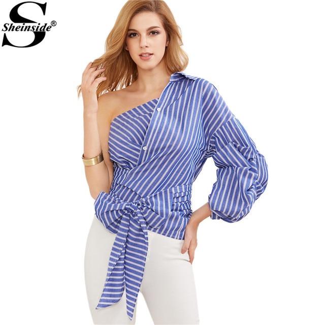 60d802b24 Sheinside Mujeres Camisa de Las Mujeres Tops y Blusas Nueva Moda Azul A  Rayas de Un