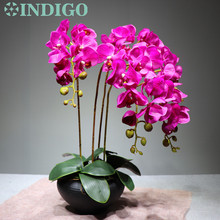 Purple Flower Arrangment Orchids With Leaves Real Touch Wedding Party Fake Decorative Event Free Shipping