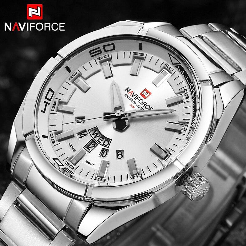 2017 NAVIFORCE Nouveau Top Marque Hommes de Montres Hommes En Acier Plein Imperméable Casual Quartz Date Horloge Mâle montre-Bracelet relogio masculino