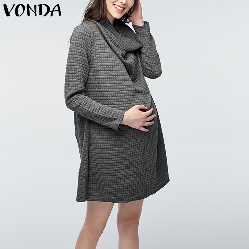 VONDA 2018 Casual Loose Mini Dress Maternity Clothing Pregnant Women Turtleneck Long Sleeve Tops Pregnancy Mothers Vestidos 5XL