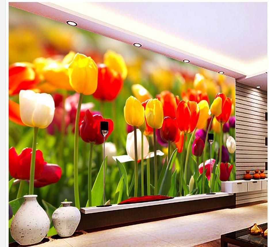 ツ)_/¯Home Decoration wallpaper for walls 3d Tulip pattern ...