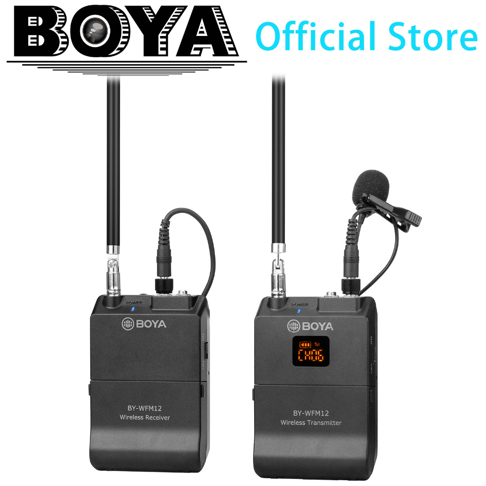 BOYA BY-WFM12 VHF Wireless Microphone System for IOS Android Smartphones, Video DSLRs, Camcorders, Audio recorders, PCs Youtube boya by wfm12