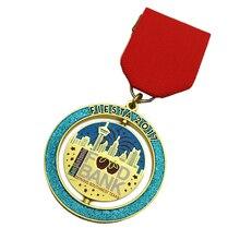 New Style Custom Die Struck Iron Gold Finished Sea Island Shrimp House Badge Medallion  k 200140