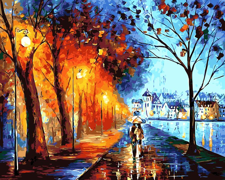In the park colorful london night Home Decor no frame Painting pictures By Numbers Handwork Draw On Canvas Living Room Wall Art ...