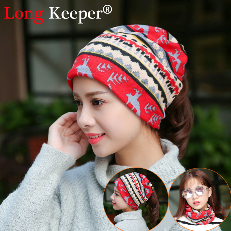 Long Keeper New Arrival 2 Use Cap Knitted Scarf For Women Deer style Beanies Autumn Winter Warm Cover Caps Spring Skullies Hats zea rtm0911 1 children s panda style super soft autumn winter wear cap scarf set blue