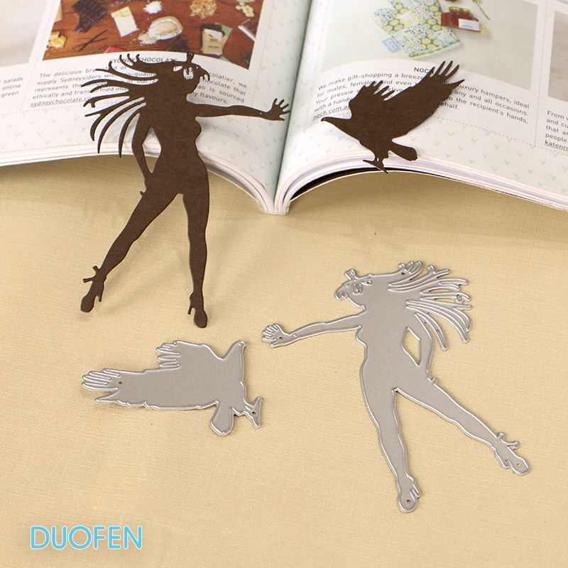 DUOFEN CUTTING DIES 130270 Eagle trainer girl 2 pcs set stencil for DIY papercraft projects Scrapbook Paper Album greeting