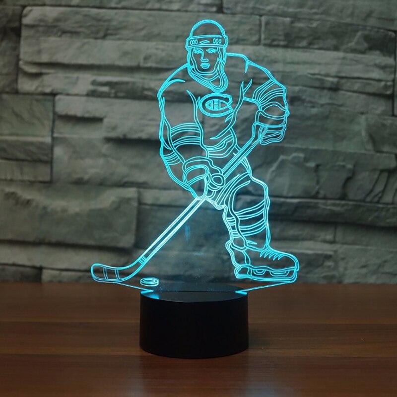 Hockey Sur glace Lecteur 3D Led Lampe montr/éal Couleur Lumi/ère Changeante tactile Lampe de Table Acrylique Lumi/ère de Nuit pour Enfants Lampe De Chevet