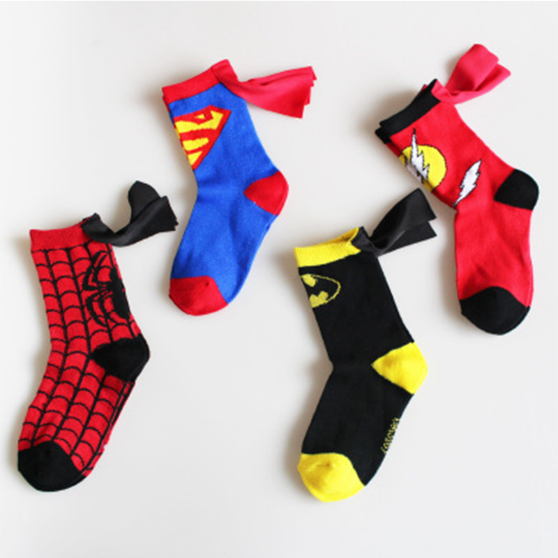 1 Pair Newest Super Hero Onsie Kids Socks Cotton Anime Character Sock Pattern Handmade Sewing Baby Socks Christmas Costume
