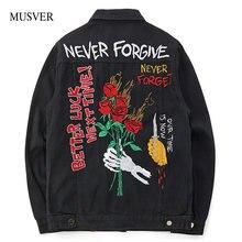 MUSVER Rose cráneos bordado Denim Chaquetas hombres 2018 nueva otoño moda  Casual algodón Hip Hop Streetwear Jean Hombre Abrigos c7734f3bdda