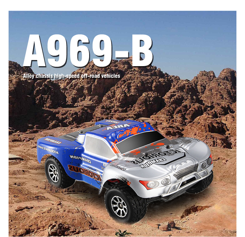 High speed rc car A969B 70KM/H 4WD off-Road Rc Monster Truck RTR With 7.4V 1400MAH Battery RC Racing car buggy climbing VS A979 new 7 2v 16v 320a high voltage esc brushed speed controller rc car truck buggy boat hot selling