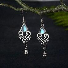 Antique Silver Geometry Moonstone Dangle Drop Earrings For Women Vintage Boho Blue Opal Earrings Female Zircon Wedding Jewelry fake opal geometry drop earrings