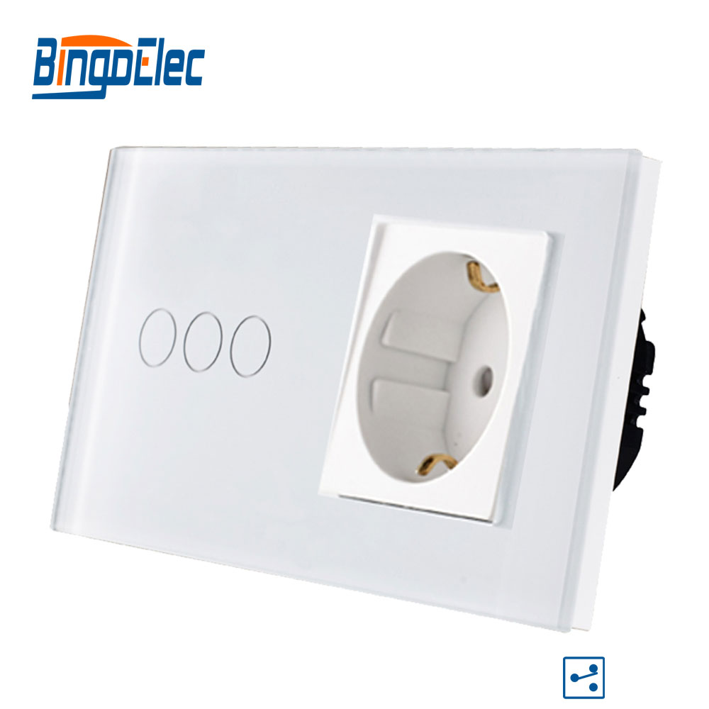 Bingoelec 3 Gang 2 Way Touch Switch Glass Panel With Germany Socket Light Switch EU Standard