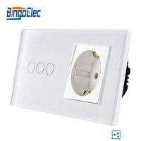 Bingoelec 3 Gang 2 Way Touch Switch Glass Panel With Germany Socket Light Switch EU Standard Wall Touch Switch