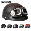 POSSBAY Vintage Leather Open Face Half Helmet Outdoor Sport Motorcycle Racing Helmet Motocross Goggles Glassess Cafe Racer