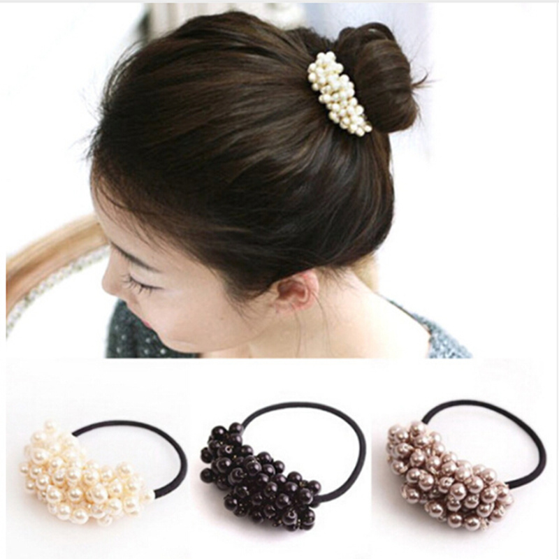 Women   Headwear   Hair Accessories Pearl Elastic Rubber Bands Ring Girl Hair Band Holder Scrunchy Rope Hair Jewelry 4 Colors