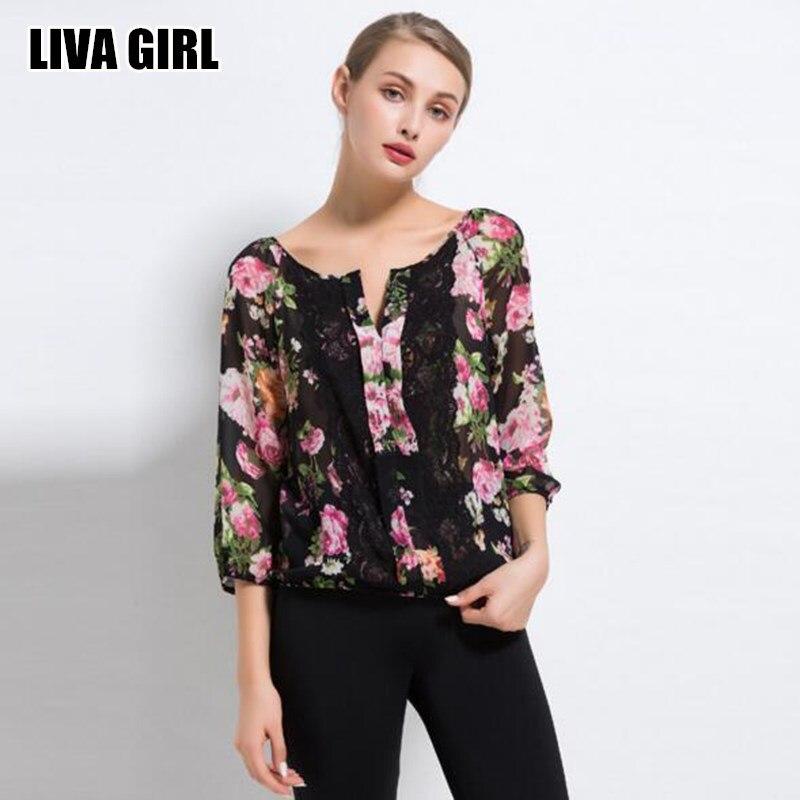 Liva girl chic delgado atractivo negro flor de la gasa de la blusa plus tamaño d
