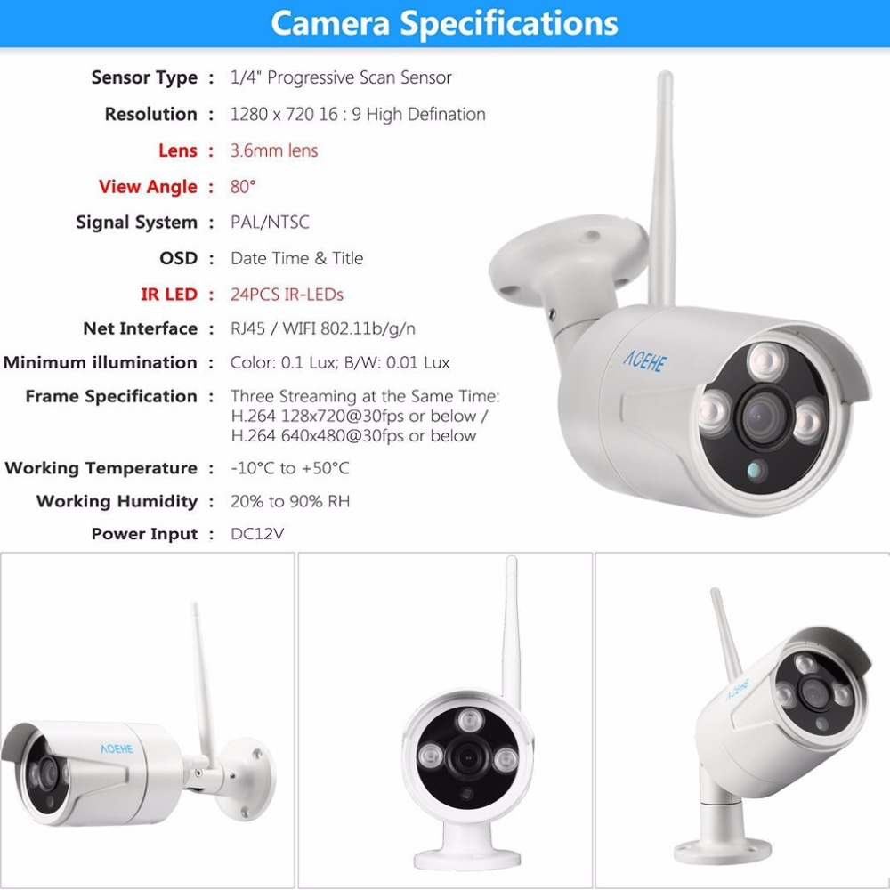 4CH 720P Outdoor security camera system wireless ip camera set NRV kit with 10.1 Monitor Home security Surveillance Camera set