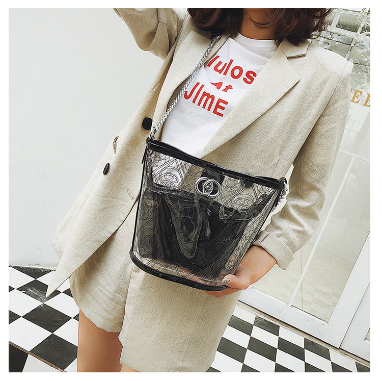 Women PVC Handbag Round Mini Transparent Bucket Composite Convenient Chain Bag Small All-match Handbag
