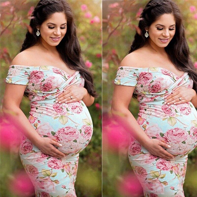 S-XXL Schwangere frauen Spitze Mutterschaft Kleid Maxi Kleid Fotografie Foto Mutterschaft Kleidung Mutter der Floral Lange Kleider Rosa