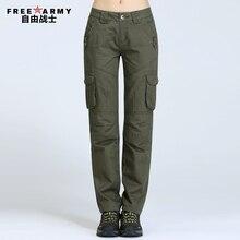 Freearmy Brand Women s Joggers Multi Pocket Army Green casual pants female Military sweat pants khaki