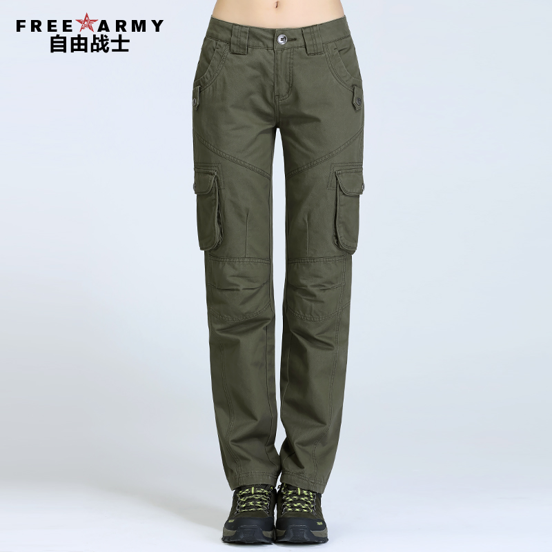 Freearmy Brand font b Women s b font Joggers Multi Pocket Army Green casual pants female