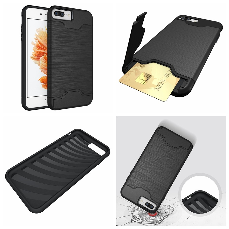 for iPhone 7 funda Luxury Slim Hybrid Credit Card pocket wallet pouch Phone case PC Back Cover for Apple iPhone 6S 6s Plus Coque (1)