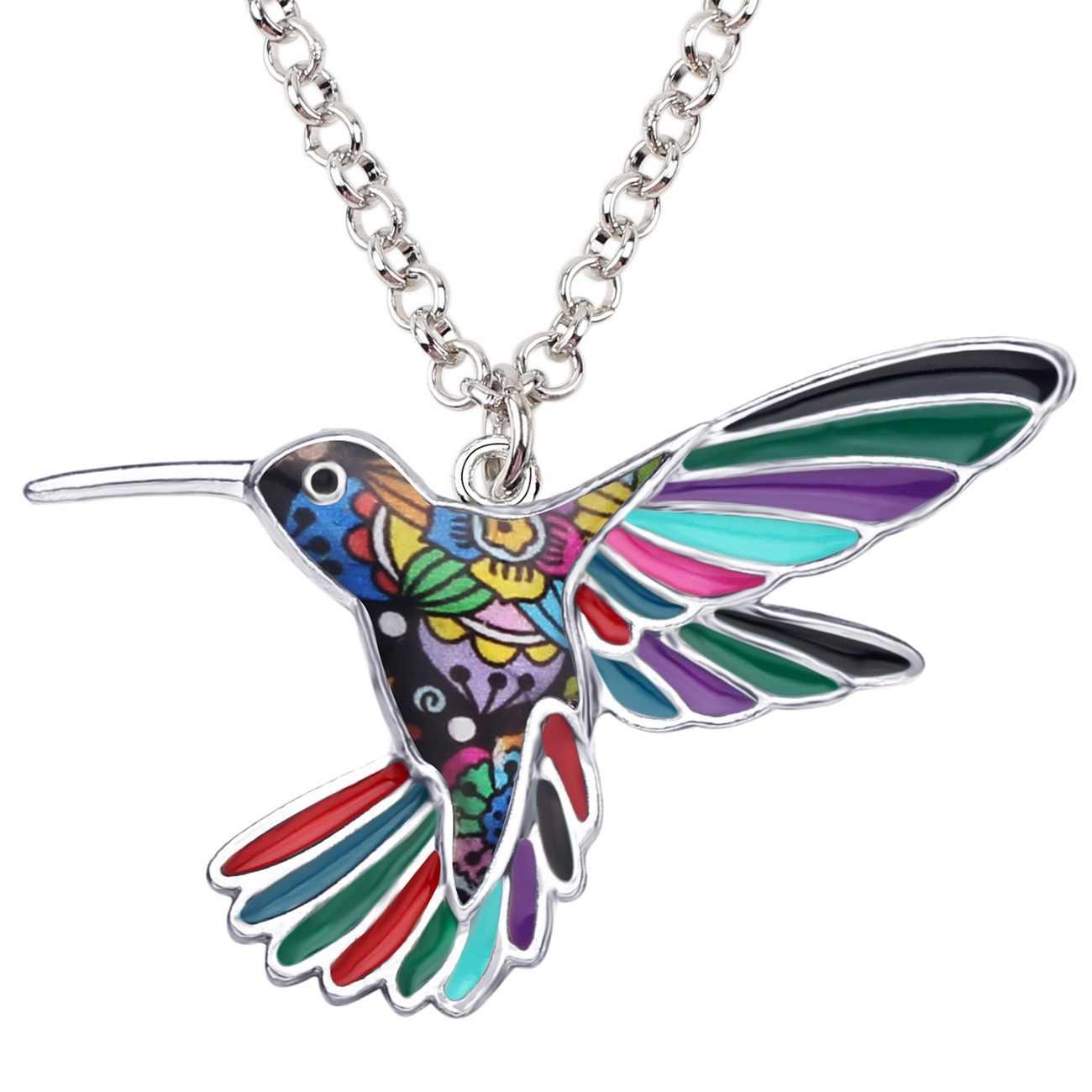 6607725e635c Bonsny declaración de aleación de esmalte colibrí pájaro colgante de collar  de cadena de moda Vintage