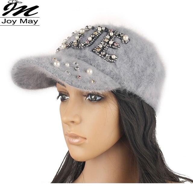2015 New fashion winter cap diamante Rhinestone warm fur cap Leisure Fake hair baseball cap for women lady girl  W201