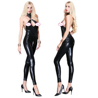 Stylish Jumpsuit Sleeveless Novelty Women Black Latex Catsuit Hollow Out Bodysuit Pole Dance Night Clubwear Backless Catsuit