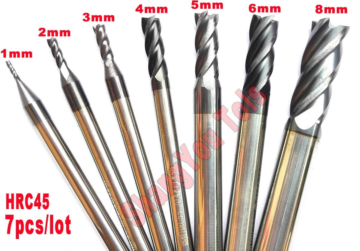 7pcs/set 1mm,2mm,3mm,4mm,5mm,6mm,8mm hrc45 4Flutes flat end mills Spiral Bit Milling Cutter Tools Carbide CNC Router bits diy 2mm 3mm 4mm white high quality flat