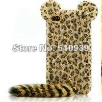 1 шт. милый в 3D тигр леопард с мягкой перо хвост журавлика TPU чехол для для iPhone 4 4 г 4S с Tiger силиконовый задняя крышка телефона случаях