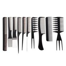 10 sztuk/zestaw profesjonalna szczotka do włosów grzebień Salon fryzjer antystatyczne grzebienie do włosów szczotka do włosów grzebienie fryzjerskie Styling Tools pielęgnacja włosów