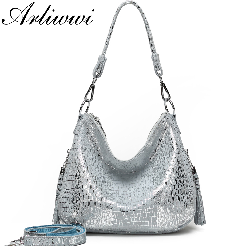 Arliwwi Genuine Leather Shiny Women s Silver Accessory Tote handbag Soft Suede Leather Lady Bags
